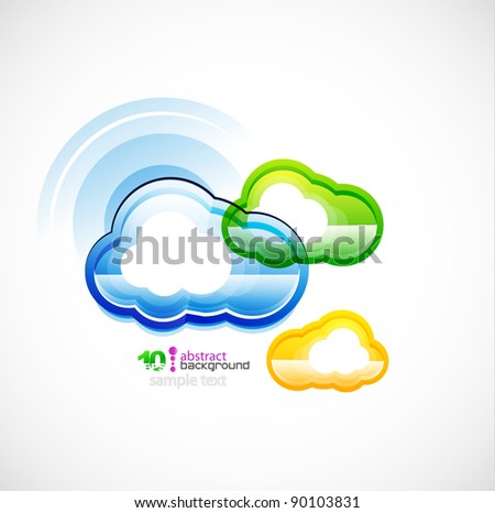 Green technology computer cloud vector background