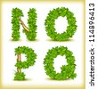 green tree alphabet font - stock vector