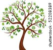 Green tree with many ecological icons and logos - stock photo