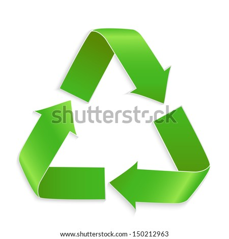Green vector recycle icon isolated on white background