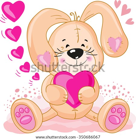 Greeting card. Cute lovely bunny with hearts.