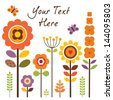 Greeting card template with retro style flowers isolated on white. Great for framing, Birthday, Mother's Day, Easter, Thank You, Sympathy, Thanksgiving, invitations, social media, web banner.  - stock
