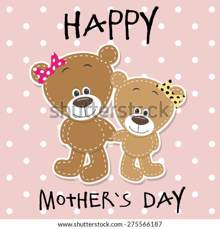 Greeting card Two bears a mother and a daughter