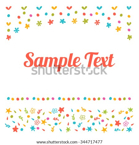 Greeting card with cute ornamental design. Cute vector background for greeting card or invitation template. Vector illustration