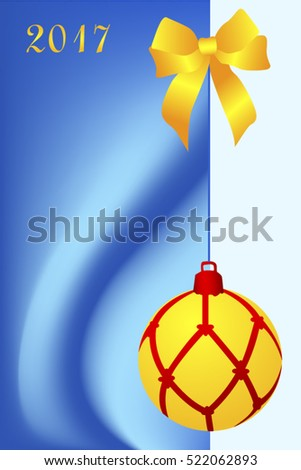 Greeting christmas card with one yellow ball