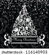 Greeting xmas card (black and white) - stock vector
