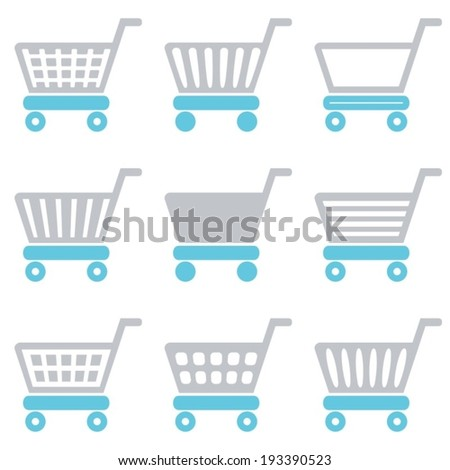 Grey and blue vector shopping cart icons collection