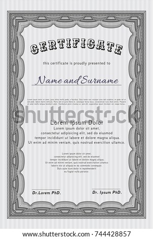 vintage frame certificate diploma template stock vector  grey diploma or certificate template complex background money pattern detailed