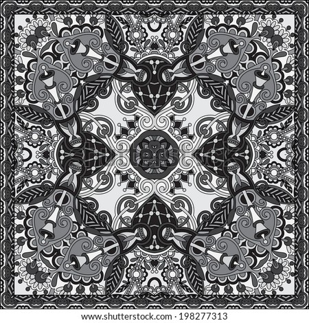 grey ornamental floral paisley bandanna. You can use this pattern in the design of carpet, shawl, pillow, cushion, black and white collection
