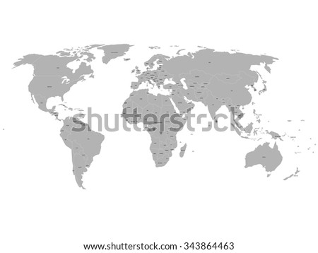 Vector world map labels sovereign countries vectores en stock grey political world map with names of sovereign countries and larger dependent territories south sudan gumiabroncs Choice Image