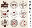 Grill, Barbecue, Burger, Hot Dog, Seafood Design Elements in Vintage Style - stock vector