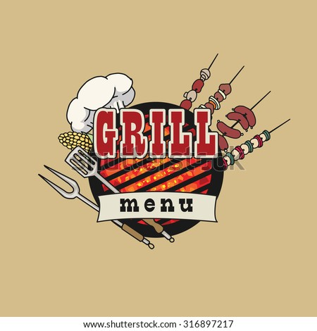 Grill menu symbol, icon, with various objects and foods, vector illustration