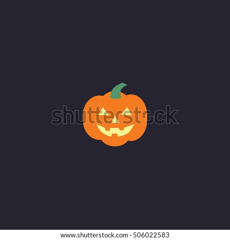 Grinning Halloween pumpkin. Vector postcard. Icon isolated on dark background