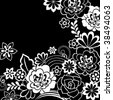 Groovy Psychedelic Black and White Doodle Flower Garden- Vector Illustration - stock vector