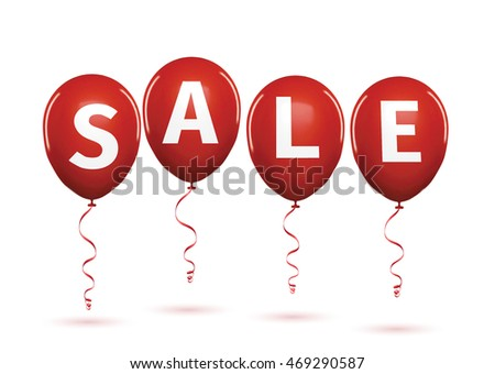 Group of balloons , sale message for shop. Balloons sale black friday decoration white letters. Save money discount business retail shopping store banner . 3d vector iilustration isolated on white