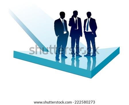 Group of businesspeople standing on a large blue arrow