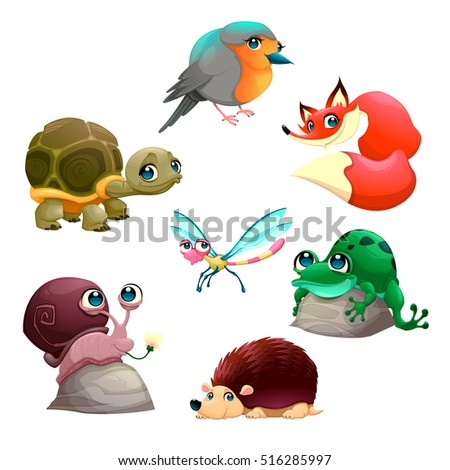 Group of cute isolated animals. Vector cartoon characters.