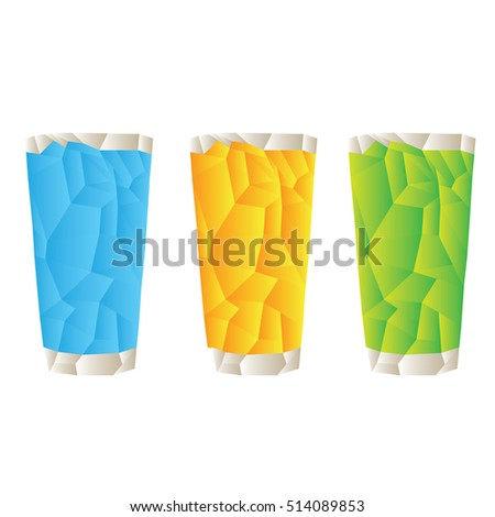 Group of geometrical sodas, Fast food vector illustration