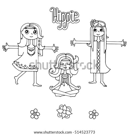 Group of happy hippie girls with lettering and flowers, Black and white anddrawn vector. Love and peace illustration.