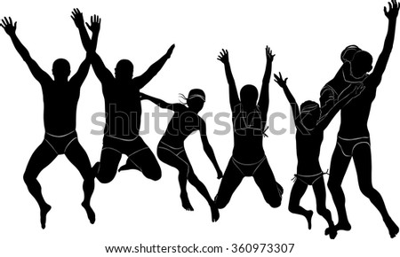 Group people jumping holiday sea silhouette vector isolated joy adults children. Family on your holiday. black silhouette of group of people.Adults and children on holiday isolated on white background