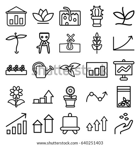 vector line icons house plants flowers stock vector