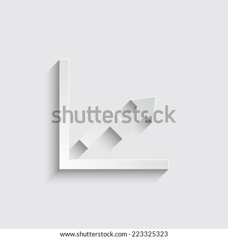 growing graph - vector icon with shadow on a grey background