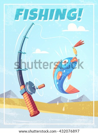Grunge background with fishing rod and fish. Vector illustration.