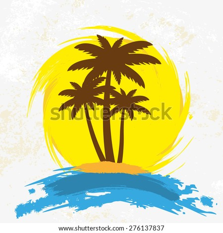 Grunge background with palm trees, vector illustration