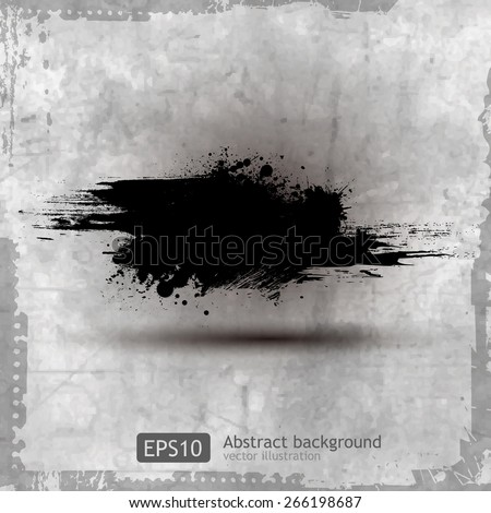 Grunge banner with an inky dribble strip, vector illustration
