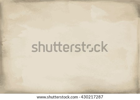 Grunge beige paper watercolor texture, background and surface. Vector Illustration