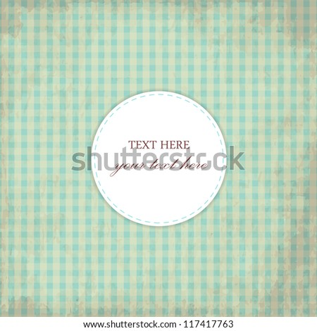 Grunge Blue Vintage Card, Plaid Design