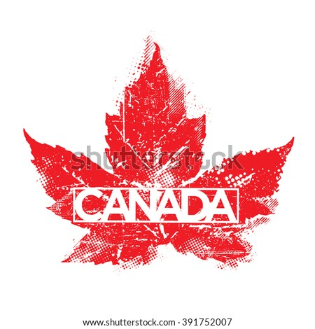 Grunge Canada Maple Leaf Design