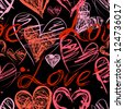 Grunge elegance ink splash seamless pattern with hearts and calligraphy - stock