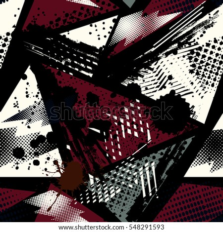 Grunge geometric pattern for girls, boys, fashion textile. urban modern design with triangles, shape elements, squares. Chaotic repeated backdrop