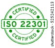 Grunge green ISO 22301 certified round rubber stamp