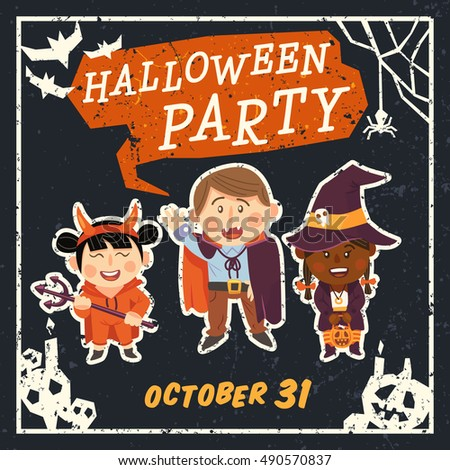 Grunge Halloween background with kids in Halloween costumes. Vector illustration.