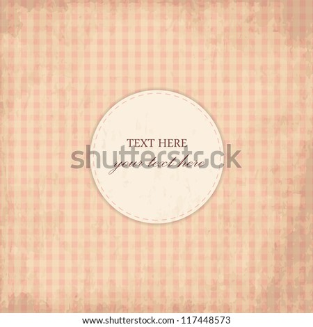 Grunge Pink Vintage Card, Plaid Design