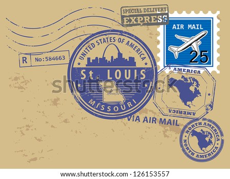 Grunge rubber post stamps set with name of Missouri, St. Louis, vector illustration