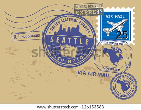Grunge rubber post stamps set with name of Washington, Seattle, vector illustration