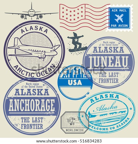 Grunge rubber stamp and signs set with the name and map of Alaska, United States, vector illustration