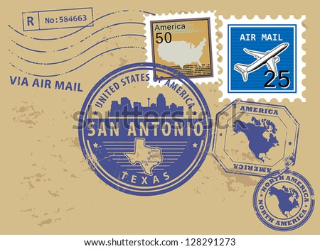 Grunge rubber stamp set with name of Texas, San Antonio, vector illustration