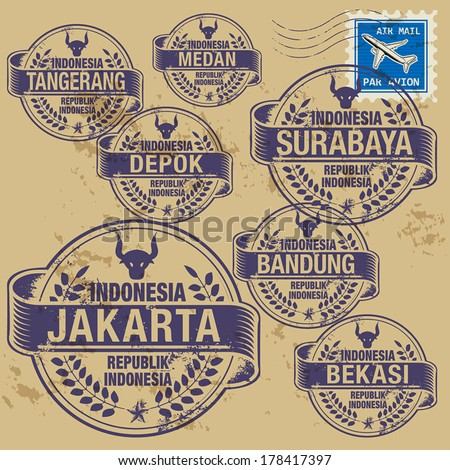 Grunge rubber stamp set with names of Indonesia cities, vector illustration