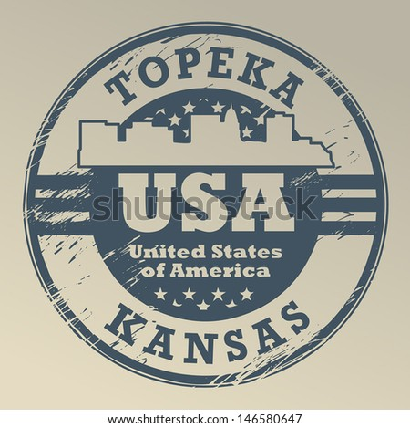 Grunge rubber stamp with name of Kansas, Topeka, vector illustration