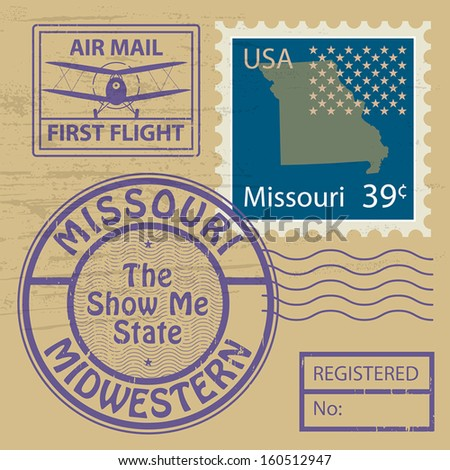 Grunge rubber stamp with name of Missouri, vector illustration