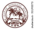 Grunge rubber stamp with palms and the word Honolulu, Havaii inside, vector illustration - stock photo