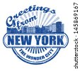 Grunge rubber stamp with text Greetings from New York, vector illustration - stock vector