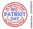 Grunge rubber stamp with the text Patriot Day written inside, vector illustration - stock