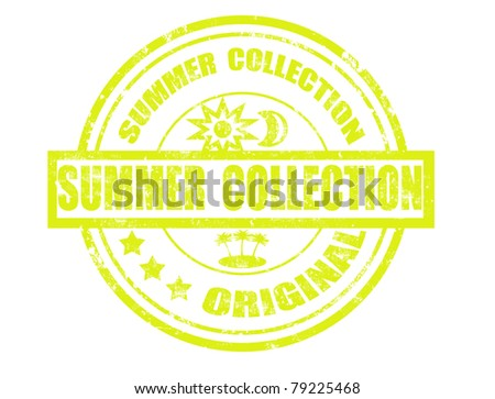 grunge rubber stamp with word summer collection and original inside