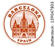 Grunge rubber stamp with words Barcelona, Spain inside, vector illustration - stock vector