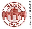 Grunge rubber stamp with words Madrid, Spain inside, vector illustration - stock vector
